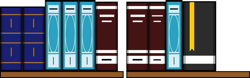 A diagram of a book shelf filled with books but arranged so that not all of the space is being used